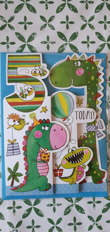 Concertina Dinosaur 5th Birthday Card - product images  of