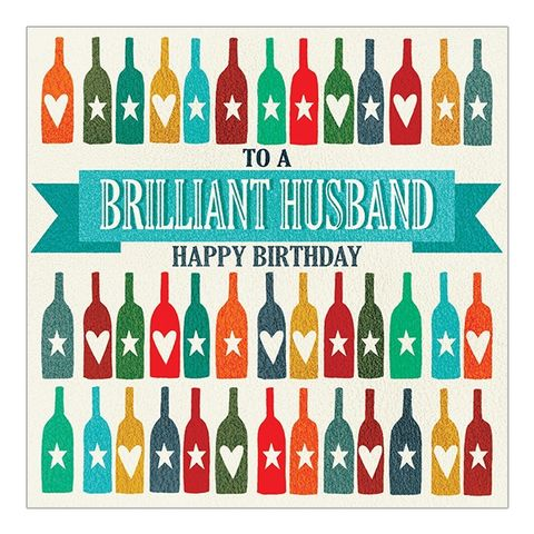 Brilliant,Husband,Happy,Birthday,Card,buy bottles of drnk beer wine ale birthday card for husband online online, buy husband birthday card with bottles online, buy husband birthday card online from wife husband, lovely hubby birthday cards