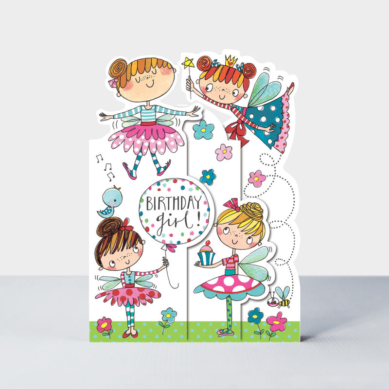 Concertina Birthday Girl Fairies Birthday Card - product images  of