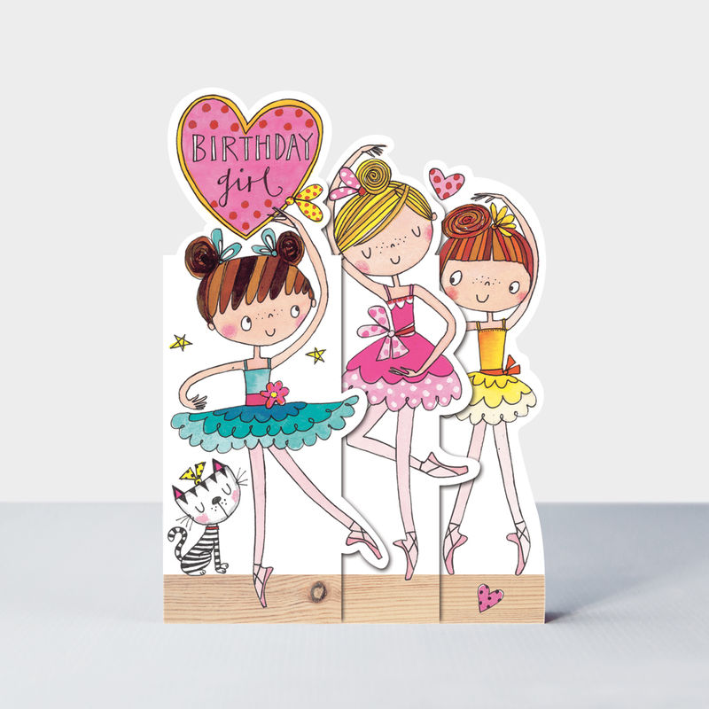 Concertina Birthday Girl Ballerinas Birthday Card - product images  of