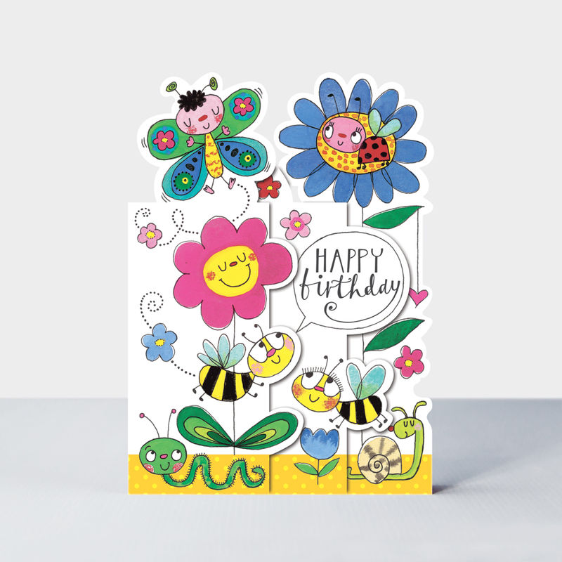 Concertina Flowers And Insects Birthday Card - product images  of