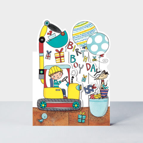 Concertina,Birthday,Boy,Digger,Card,buy builder birthday card for little boy online, buy building site birthday cards for boys online, buy birthday boy birthday cards online, buy jcb digger cards  for boys online, buy birthday cards with digger dog presents online,