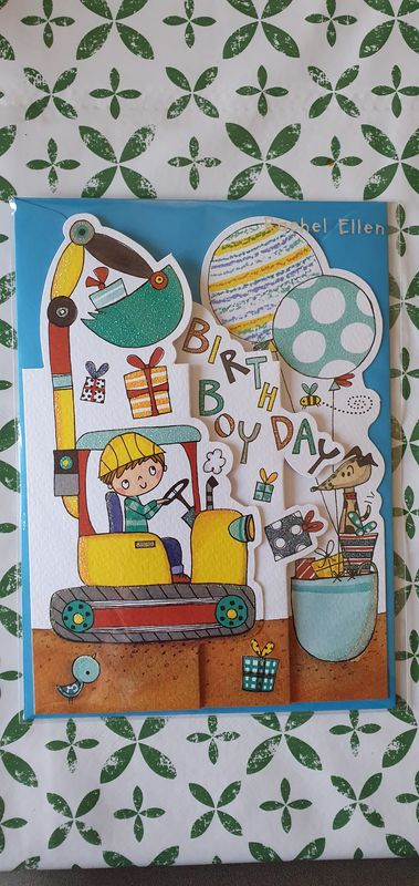 Concertina Birthday Boy Digger Birthday Card - product images  of