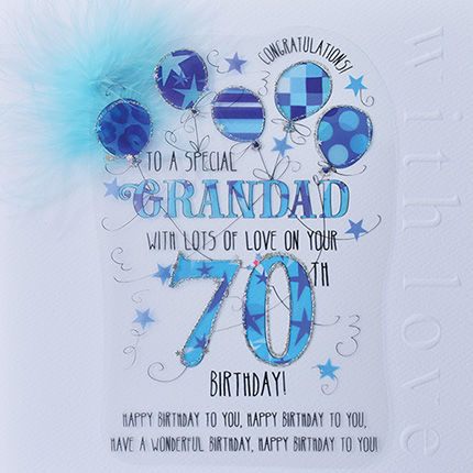 New In - Handmade Grandad 70th Birthday Card - Large, Luxury Birthday Card - product images  of