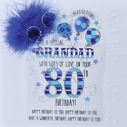 New In - Handmade Grandad 80th Birthday Card - Large, Luxury Birthday Card - product images  of