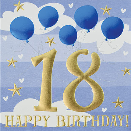 Blue,Balloons,Happy,18th,Birthday,Card,buy 18th birthday cards for Him online, buy age eighteen male birthday cards online, buy boys 18th birthday cards online, buy boys seventeenth birthday cards, age eighteen birthday cards for male, men's 18th birthday card with balloo