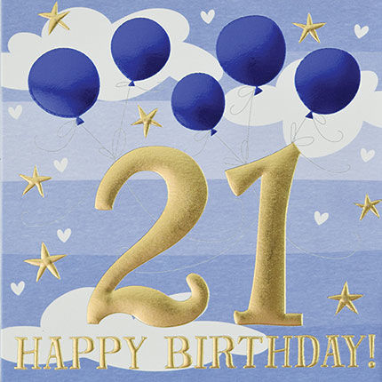 Blue,Balloons,Happy,21st,Birthday,Card,buy 21st birthday cards for Him online, buy age twenty one male birthday cards online, buy men's 21st  birthday cards online, buy male twenty first birthday cards, age twenty one  birthday cards for male, men's 21stbirthday card with ballo