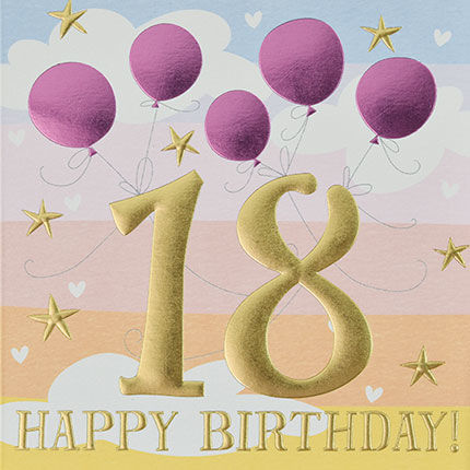 Pink,Balloons,Happy,18th,Birthday,Card,buy 18th birthday cards for her online, buy age eighteen female birthday cards online, buy age eighteen birthday cards online, buy pretty eighteenth birthdaY cards, age eighteen birthday capes for her, 17th birthday card with balloons