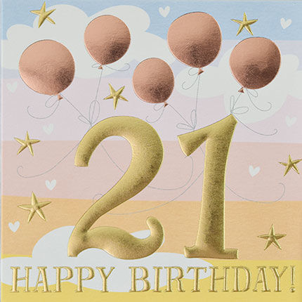 Pink,Balloons,Happy,21st,Birthday,Card,buy 21st  birthday cards for her online, buy age twenty one female birthday cards online, buy age twenty one birthday cards online, buy pretty twenty first birthdaY cards, age 21 birthday cards for her, 21st birthday card with balloons