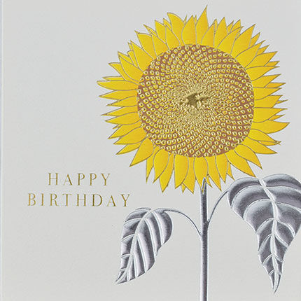 Botanical,Sunflower,Happy,Birthday,Card,buy birthday cards for her online, buy female birthday cards with flowers online, buy floral birthday cardd for her online, buy birthday cards with Sunflowers online, buy floral daisy birthday cards online, buy gender neutral birthday cards online, buy bi