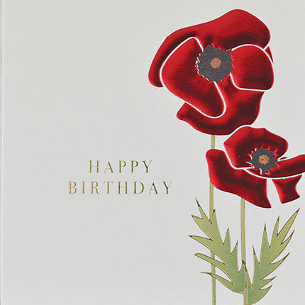 Botanical,Poppy,Happy,Birthday,Card,buy birthday cards for her online, buy female birthday cards with flowers online, buy floral birthday cardd for her online, buy birthday cards with Sunflowers online, buy floral daisy birthday cards online, buy gender neutral birthday cards online, buy bi