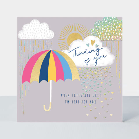 When,Skies,Are,Grey,Thinking,Of,You,Card,buy Rainbow card online, buy thinking of you card online, buy sympathy thinking of you cards online, buy umbrella rain sun when skies are grey card online, buy warm wishes friendship cards online hope you are feeling brighter soon card online, buy card fo