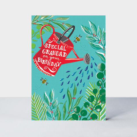 Watering,Can,Gardening,Special,Grandad,Birthday,Card,buy grandad birthday cards online, buy birthday cards for granddads online, buy grandad birthday card online, buy garden gardener watering can plants bees nature birthday cards for grandads grandparents online. buy birthday cards for Grandparents online,