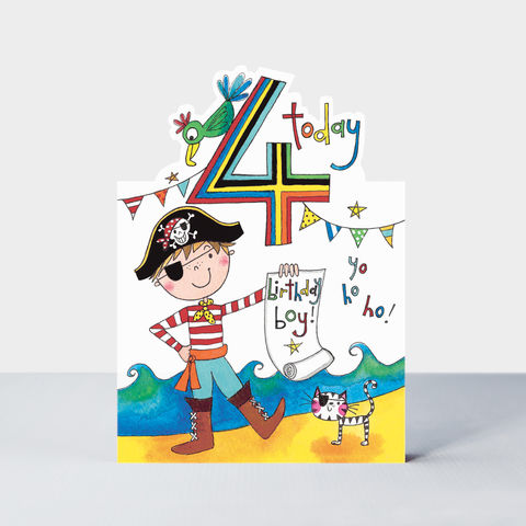 Pirate,4,Today,Happy,Birthday,Card,buy Boys 4th birthday card online, buy pirate birthday cards for boys online, buy pirate birthday cards age four online, buy pirate birthday cards for 4th birthday online, pirate brithday cards for kids, boys birthday cards with pirates
