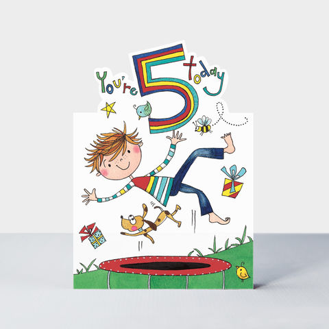 Trampoline,5,Today,Happy,Birthday,Card,buy Boys 5th birthday card online, buy trampolining birthday cards for boys online, buy trampoline birthdaY cards age five online, buy 5th birthday cards for boys online, boys birthday cards for 5th birthday