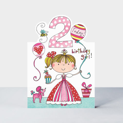 Princess,2,Today,Happy,Birthday,Card,buy Girls 2nd birthday card online, buy pink princess party birthday cards for girls online, buy age 2 birthday card for girls online, buy 2nd birthday cards for girls with princesses online, fairytale princes birthday cards for girls birthday