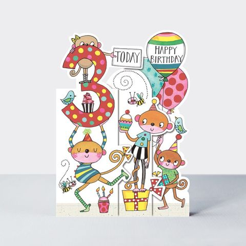 Concertina,Monkey,3rd,Birthday,Card,buy monkey birthday card for 3rd birthday online , buy 3rd birthday cards for child with monkeys animals online, buy age three birthday cards online, buy card for boys Girls 3rd birthday online, buy animal cards for kids online