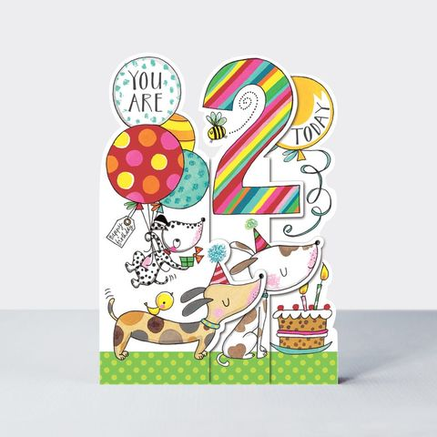 Concertina,Dogs,2nd,Birthday,Card,buy dog birthday card for 2nd birthday online , buy 2nd birthday cards for child with dogs animals online, buy age two birthday cards online, buy card for kids  with dogs birthday online, buy animal cards for kids online