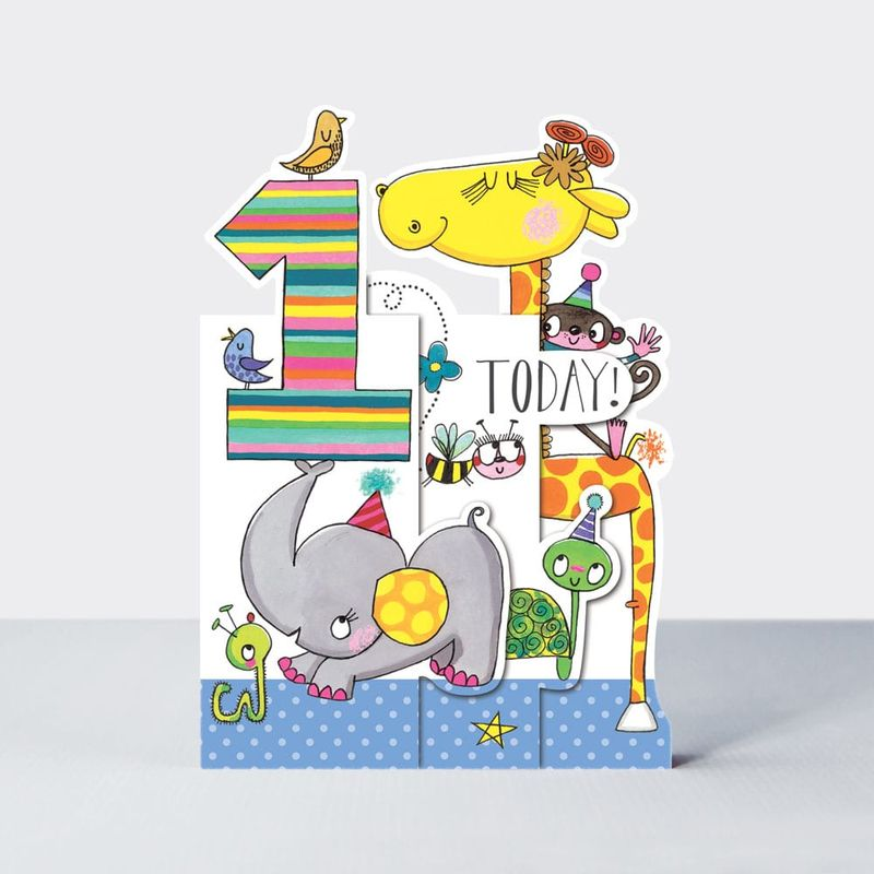 Concertina Jungle Animals 1st Birthday Card - product images  of
