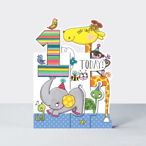 Concertina,Jungle,Animals,1st,Birthday,Card,buy jungle animals birthday card for 1st birthday online , buy 1st birthday cards for child with animals online, buy age one birthday cards online, buy card for baby's first birthday online, buy animal cards for kids online