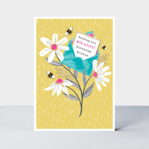 Bees,And,Daisies,Beautiful,Birthday,Card,buy bee and flowers birthday cards online, buy birthday cards for gardeners online, buy flower birthday card online, buy garden gardener flowers plants bee nature birthday cards online. buy Piccolo birthday card by Rachel Ellen designs online