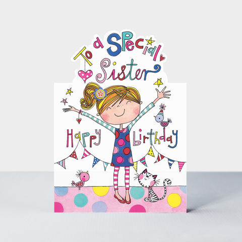 Girl,And,Cat,Special,Sister,Birthday,Card,buy Little sister birthday card online, buy cute  birthday cards for young sisters online, buy birthday card for sister online, buy girls birthday cards with sister card