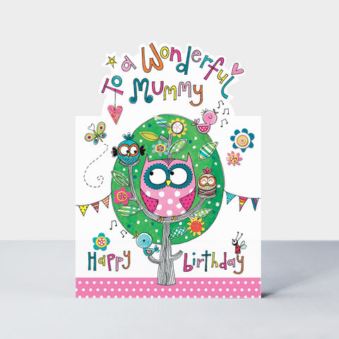 Owls,Wonderful,Mummy,Birthday,Card,buy Special mummy birthday card online, buy cute birthday cards for mummies online, buy birthday card for mummy online from child children daughter son,  buy mummy birthday cards with owls birds owl tree bunting online,