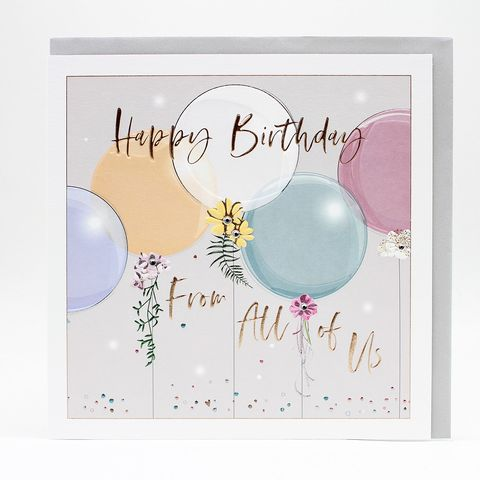 Balloons,Happy,Birthday,From,All,Of,Us,Card,-,Large,,Luxurious,buy birthday cards from all of us online. Buy birthday card from the girls online, buy birthday card for her from all of us online, buy birthday cards with presents online, buy large birthday cards online