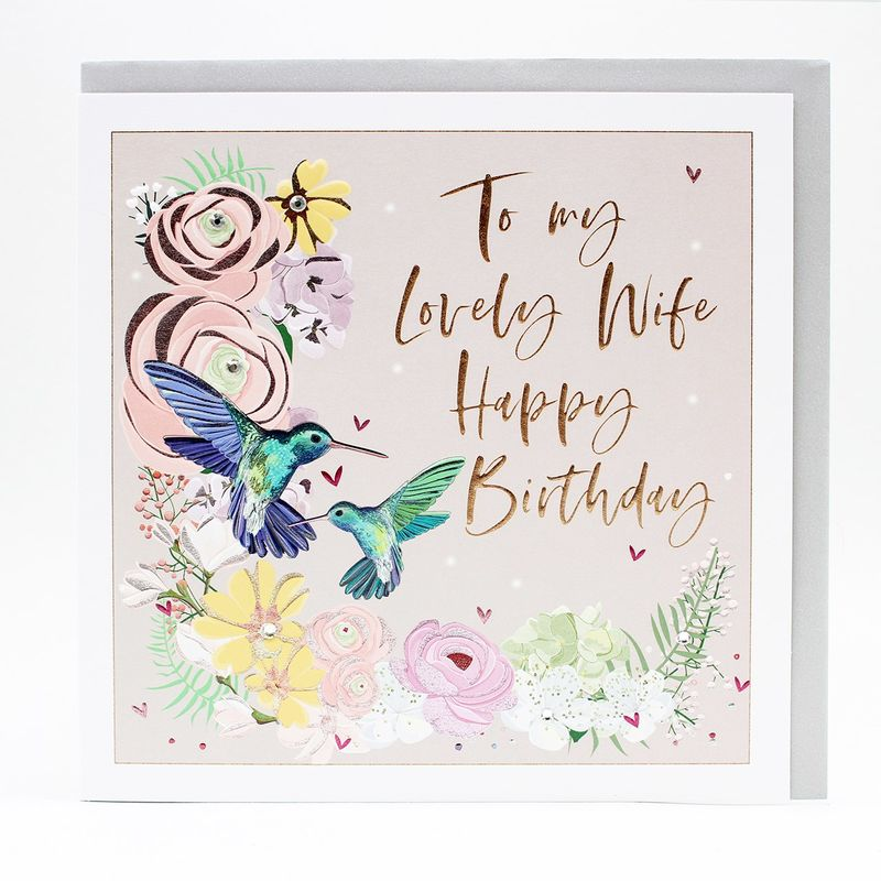 Hummingbirds  & Flowers Lovely Wife Birthday Card - Large, Luxurious Birthday Card - product images
