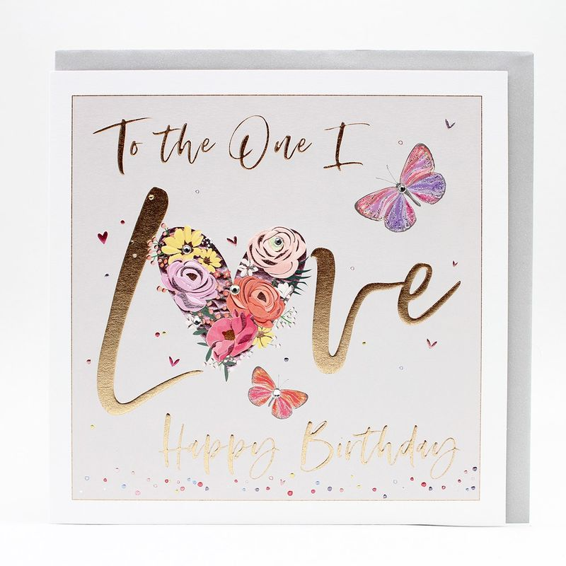 Butterflies & Flowers To The One I Love Birthday Card - Large, Luxurious Birthday Card - product images