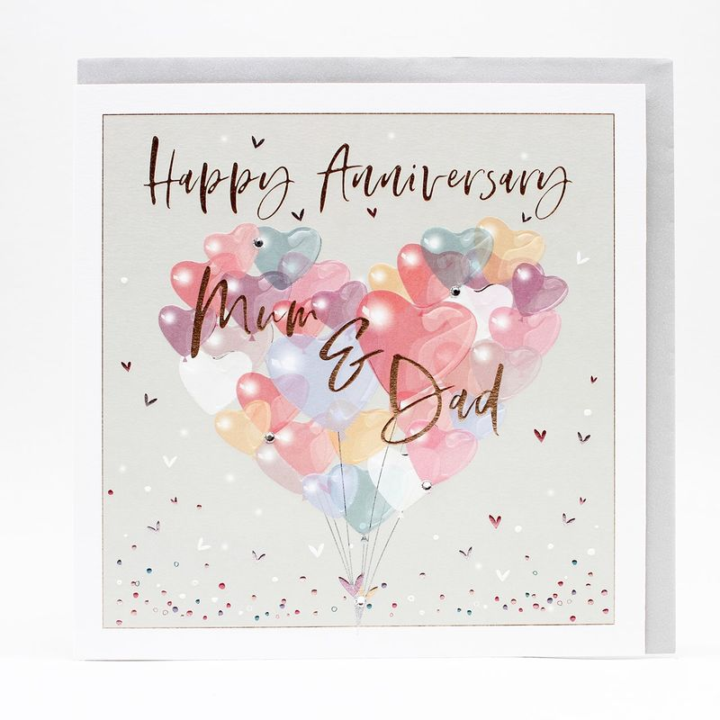Special Mum And Dad Happy Anniversary Card - Large, Luxurious Card - product images