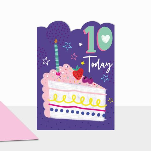 Slice,Of,Birthday,Cake,10,Today,Card,buy 10th birthday cards online, buy age ten birthday cards with birthday cake online, buy girls age ten birthday card online, buy pretty birthday cards for children online with fruit, girls age ten birthday cards online slice of cake candle