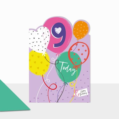 Balloons,9,Today,Birthday,Card,buy 9th birthday cards online, buy age nine birthday cards with balloons online, buy girls age nine birthday card online, buy pretty birthday cards for children online with fruit, girls age ten birthday cards online cute fruits design