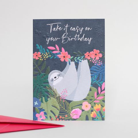 Sloth,Take,It,Easy,Birthday,Card,Buy belly button wild thing cards online, buy birthday cards with animals online, Buy sloth animal cards online, buy take it easy on your birthday cards online, buy pretty animal birthday cards for her, t