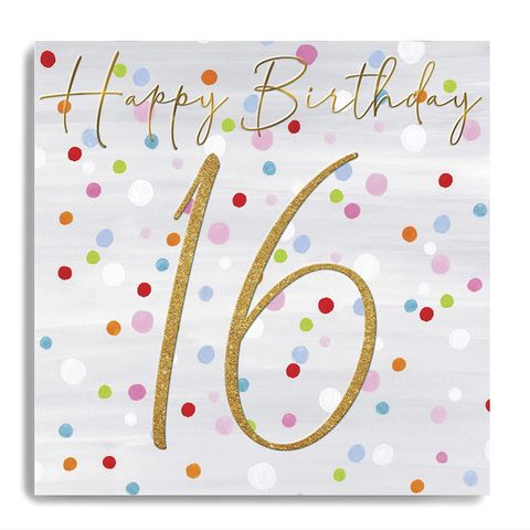 Hand,Finished,Dotty,16th,Birthday,Card,buy 16th birthday card for her online, buy sixteenth birthday cards online with dots spots, sweet sixteen birthday cards, buy age sixteen female birthday cards online, buy pretty 16th birthday cards online