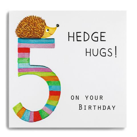 Hedgehog,Hugs,5th,Birthday,Card,buy 5th birthday card for child online, buy age five birthday card for girl online, buy fifth birthday card for girl online, buy hedgehog hugs 5 today birthday card online, buy kids 5th birthday cards online with animals, buy kids age five cards onlin wit