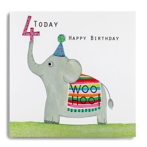 Elephant,4th,Birthday,Card,buy 4th birthday card for child online, buy age four birthday card for girl online, buy forth fourth birthday card for girl boy online, buy elephant 4 today birthday card online, buy kids 4th birthday cards online with jungle animals, buy kids age five ca
