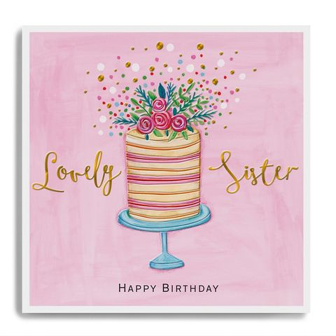 Hand,Finished,Lovely,Sister,Birthday,Card,buy pretty pink sister birthday card online, buy luxury birthday cards for sisters online, buy sister birthday card online with birthday cake flowers pink dots, buy sister birthday card online from brother sister sibling