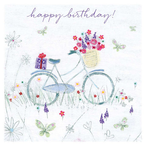 Bicycle,And,Flowers,Birthday,Card,-,Lucy,Grossmith,Buy bicycle birthday card for her online, buy pretty flowers birthday cards for females online, buy bicycle with basket of flowers birthday cards, buy summer birthday card with butterfly, buy floral birthday cards for her, buy Lucy Grossmith card online