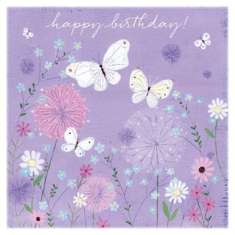 Lilac,Butterflies,And,Flowers,Birthday,Card,-,Lucy,Grossmith,Buy butterfly birthday card for her online, buy pretty flowers birthday cards for females online, buy garden birthday cards, buy summer birthday card with butterflies, buy floral birthday cards for her, buy Lucy Grossmith card online