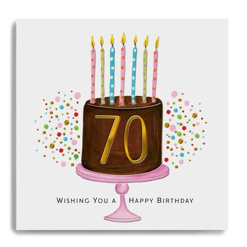 Hand,Finished,70th,Birthday,Cake,Card,buy 70th birthday card online, buy luxury birthday cards for seventieth birthday online, buy age seventy birthday card online with birthday cake and candles, buy seventy birthday card online for her him unisex