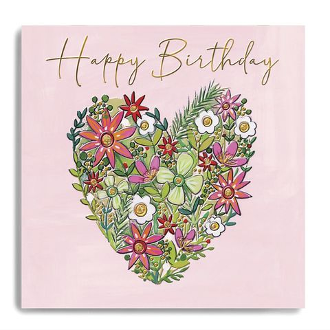 Hand,Finished,Floral,Heart,Happy,Birthday,Card,buy flower birthday card for her online, buy floral birthday cards online for her, pretty birthday cards for lady with pink heart flowers, buy female birthday cards online with pretty flowers, buy pretty heart birthday cards online