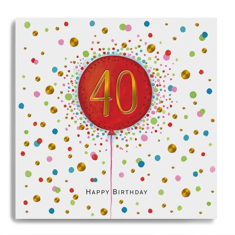 Hand,Finished,40th,Birthday,Balloon,Card,buy 40th birthday card online, buy luxury birthday cards for fortieth birthday online, buy age forty birthday card online with birthday balloon dots spots, buy forty birthday card online for her him unisex