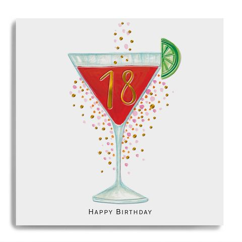 Hand,Finished,18th,Birthday,Cocktail,Card,buy 18th birthday card online, buy luxury birthday cards for eighteenth birthday online, buy age eighteen birthday card online with birthday drinks cocktail, buy 18 birthday card online for her him unisex