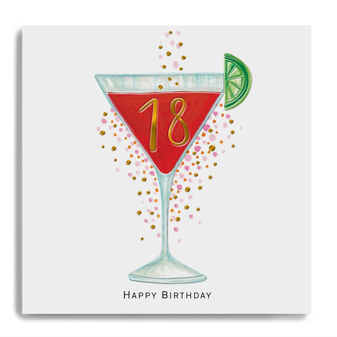 Hand Finished 18th Birthday Cocktail Birthday Card Karenza Paperie