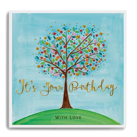 Hand,Finished,Tree,It's,Your,Birthday,Card,buy pretty birthday card online with nature tree garden blossom, buy luxury birthday cards for gardeners online, buy nature garden tree blossom birthday card online for her him unisex, garden birthday cards with trees,