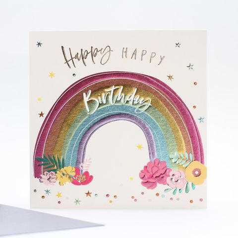 Rainbow,&,Flowers,Happy,Birthday,Card,buy birthday cards for her online, buy female birthday cards with rainbows online, buy rainbow birthday cards online, buy gender neutral birthday cards online, buy birthday cards with rainbows online, rainbow birthday cards