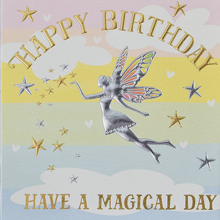 Magical,Fairy,Happy,Birthday,Card,buy birthday cards for her online, buy female birthday cards with fairies online, buy fairy birthday cards online, buy pretty girls birthday cards online, buy birthday cards with rainbows online, rainbow birthday card