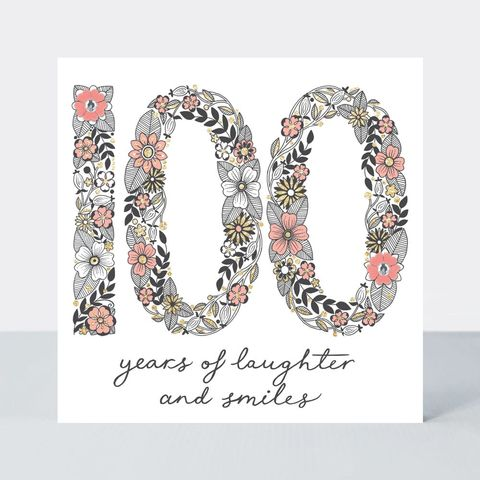 Floral,100,Years,Of,Laughter,And,Smiles,Birthday,Card,buy special floral 100 today birthday cards online, buy one hundredth birthday card for her online, buy pretty 100 today birthday cards online, buy age one hundred birthday cards for special lady online, buy 100 years of laughter and smiles special birthd