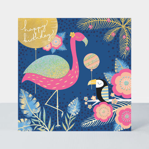 Flamingo,and,Toucan,Birthday,Card,buy bird pretty birthday card for her online, pretty birthday cards with birds flowers floral nature, buy flamingo birthday cards online for girls, buy toucan birthday cards online